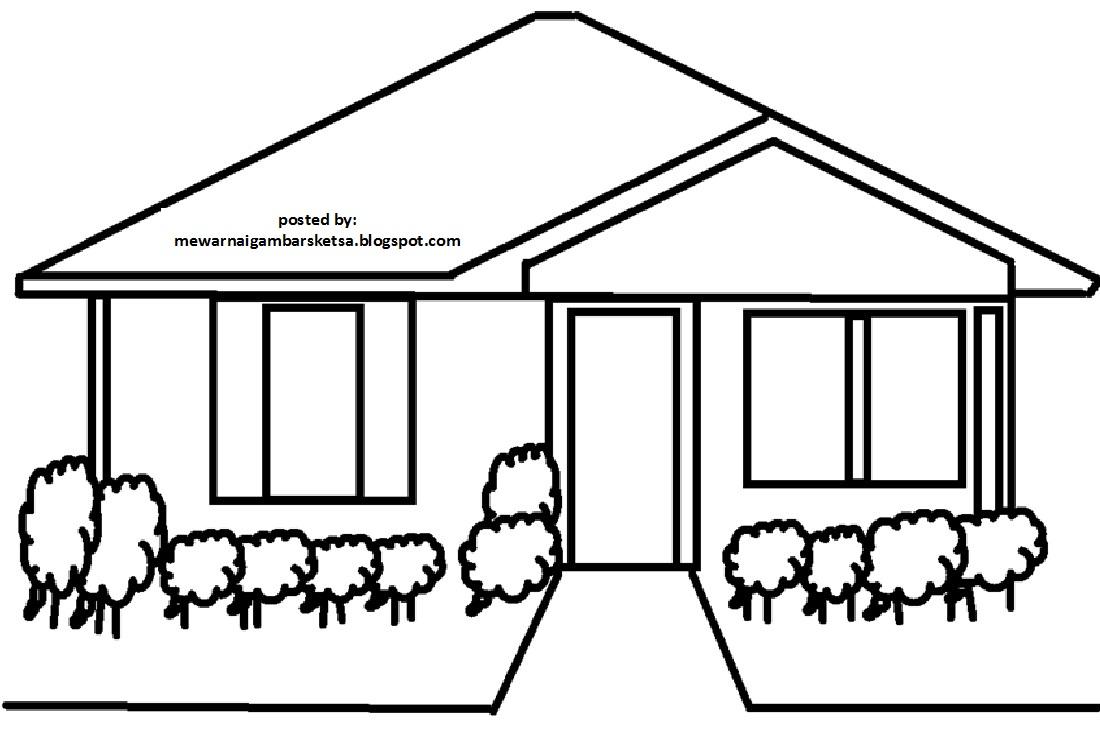 Mewarnai Gambar Mewarnai Gambar Sketsa Rumah 5