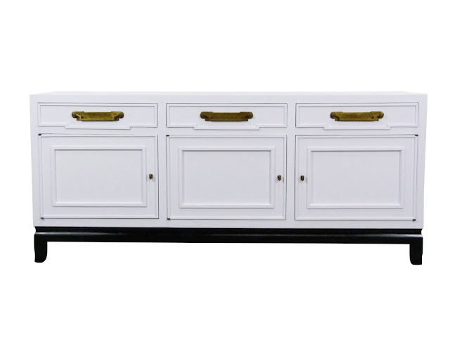 vintage white lacquer blak leg buffet sideboard fancher asian-style