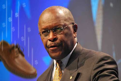 Herman Cain doctored photo with shoe falling in front of him, trailing dollar signs