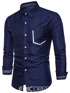 Ericdress Plain Lapel Polka Dot Slim Men's Shirt