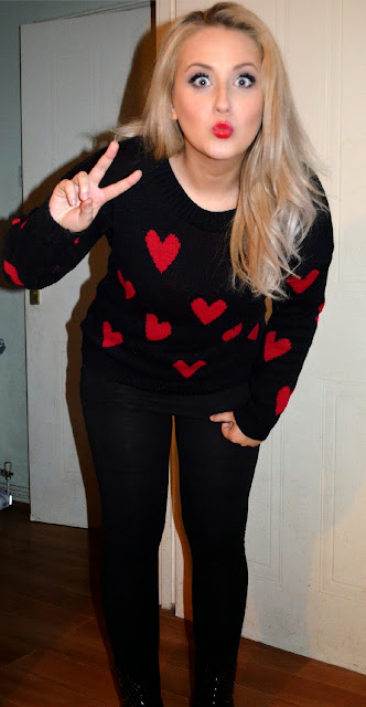 Miss Luxe - Love Heart jumper - printed knit - biker boots - primark - studded boots - fleeced leggings - New Look - Red Lipstick - Mac Maleficent lipstick - OOTD - Outfit of the day