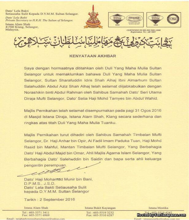 Kenyataan Akhir Pernikahan Sultan Selangor Dan Norashikin