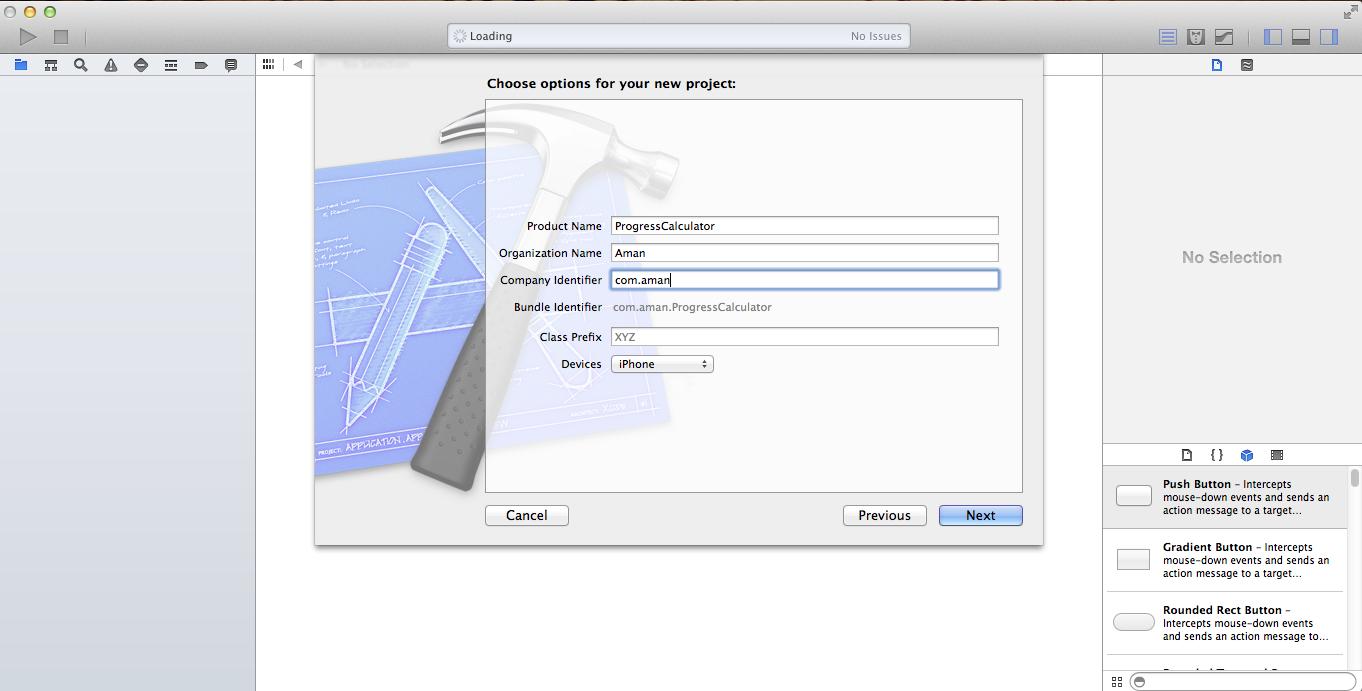 ProgressCalculator Xcode Project creation