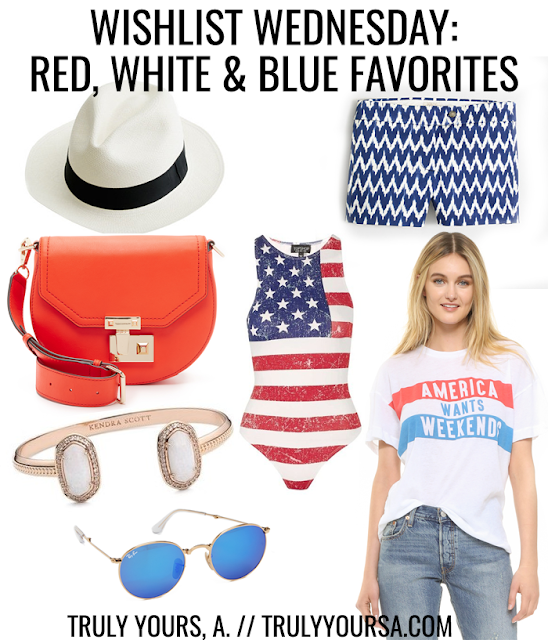 We've got less than a week left until we celebrate the summer's biggest holiday - the 4th of July! I love seeing people decked out in red, white, and blue, but I rarely wear these colors on this holiday. This year I promised myself I would add a few patriotic pieces to my closet so I can celebrate in style. This time of year is usually spent outside especially when it's time for fireworks! I've gathered a few of my favorite pieces that will keep you comfortable, cool, and show off your American spirit no matter where you're headed. Keep reading to see my red, white, and blue favorites for the 4th of July!