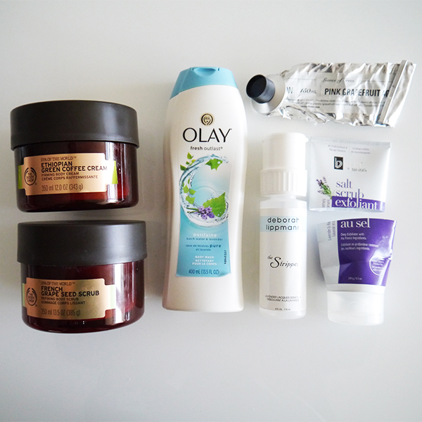Empty body care from The Body Shop, Olay, Deborah Lippmann, Leaves of Trees, BV Spa