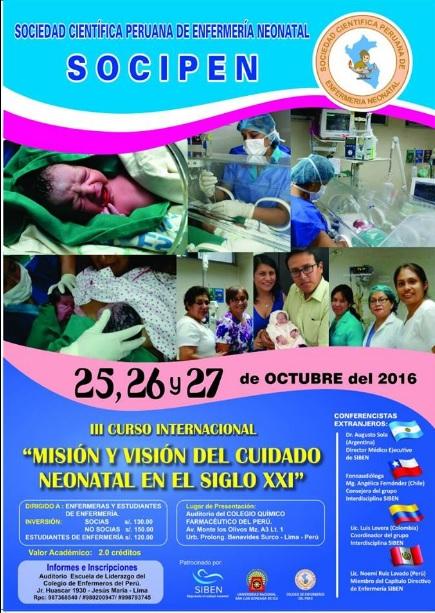 SOCIPEN III CURSO INTERNACIONAL MISION Y VISION DEL CUIDADO NEONATAL OCTUBRE 2016