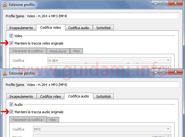 VLC finestra Edizione profilo schede Codifica video e audio