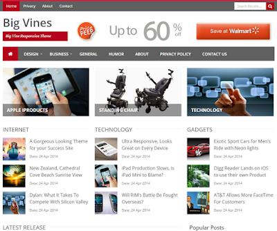 Big Vines Blogger Template untuk Blog Berita