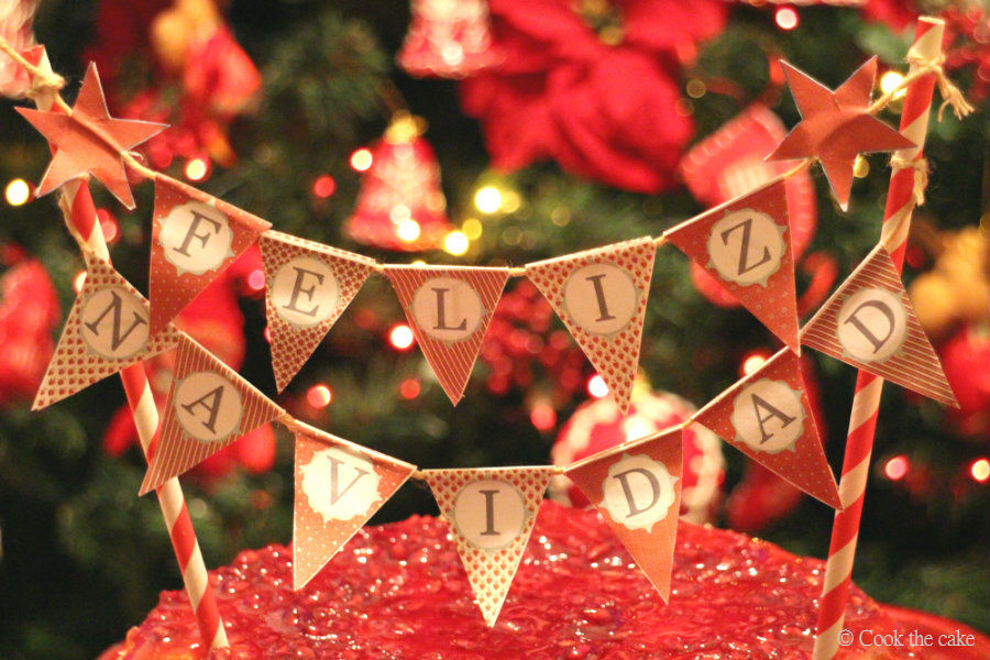 banderines-tarta, christmas-cheesecake, cheesecake-de-navidad, cheesecake-de-speculoos-y-mazapan