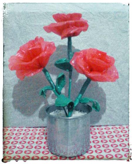 DIY bunga mawar dari kantung plastik