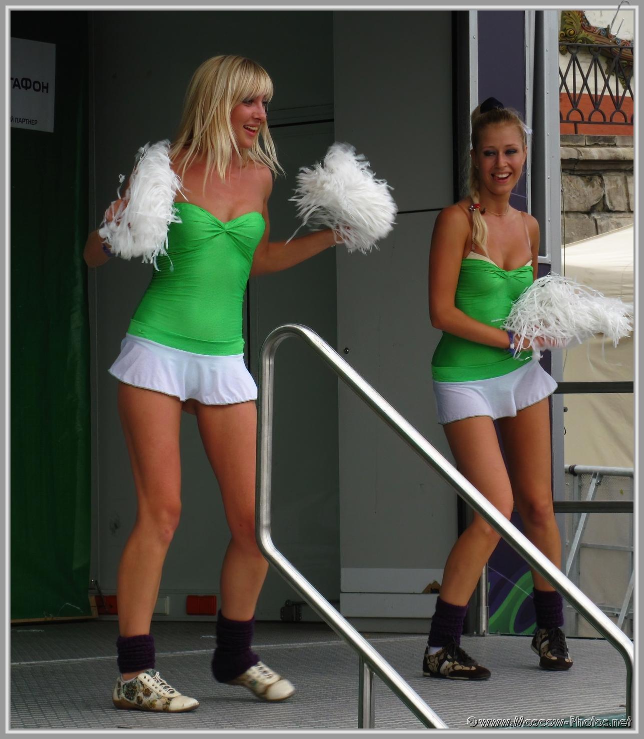 Girls dancing in mini skirt