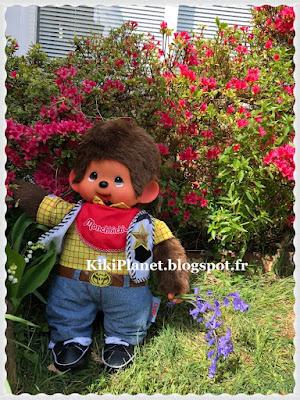 kiki, monchhichi, woody, clochettes, toys story, jardin