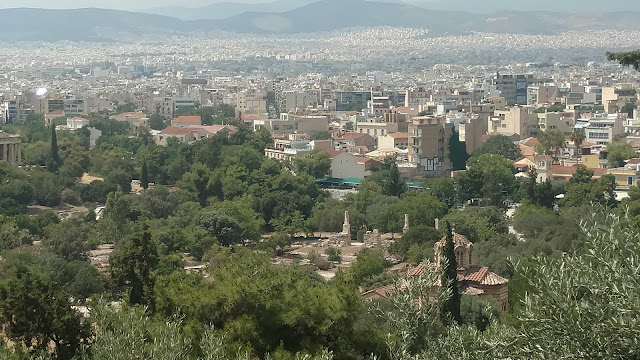 a view from the Acropolis over Athens, Greece