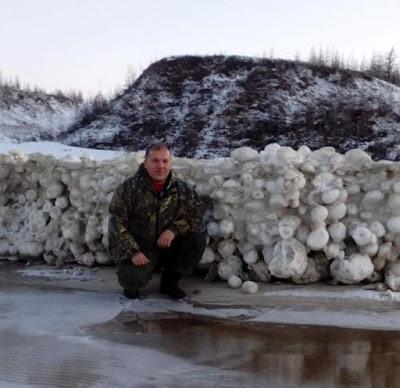 Fenomena Bola Salju Raksasa di Sepanjang Pantai Siberia