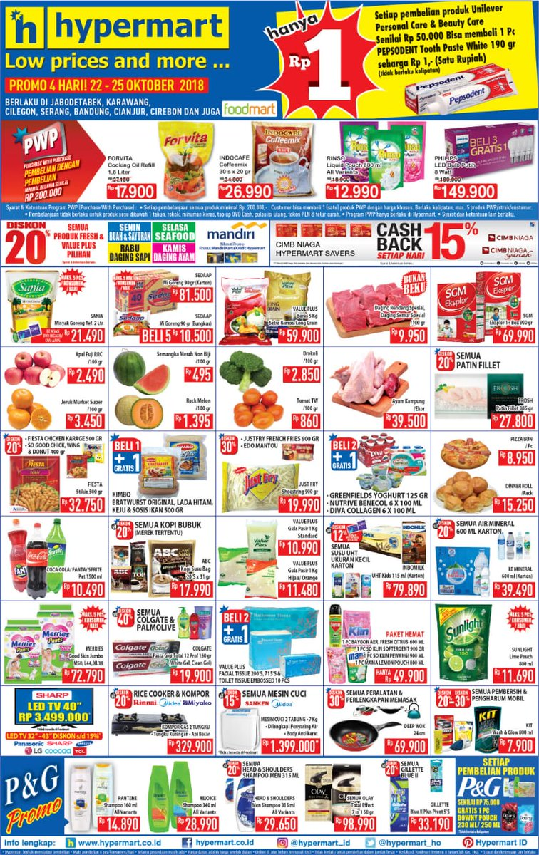 Hypermart - Katalog Promo Low Price and More Periode 22 - 25 Okt 2018