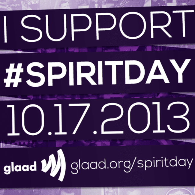 I support Spirit Day 10-17-2013 and will wear purple to show my support.