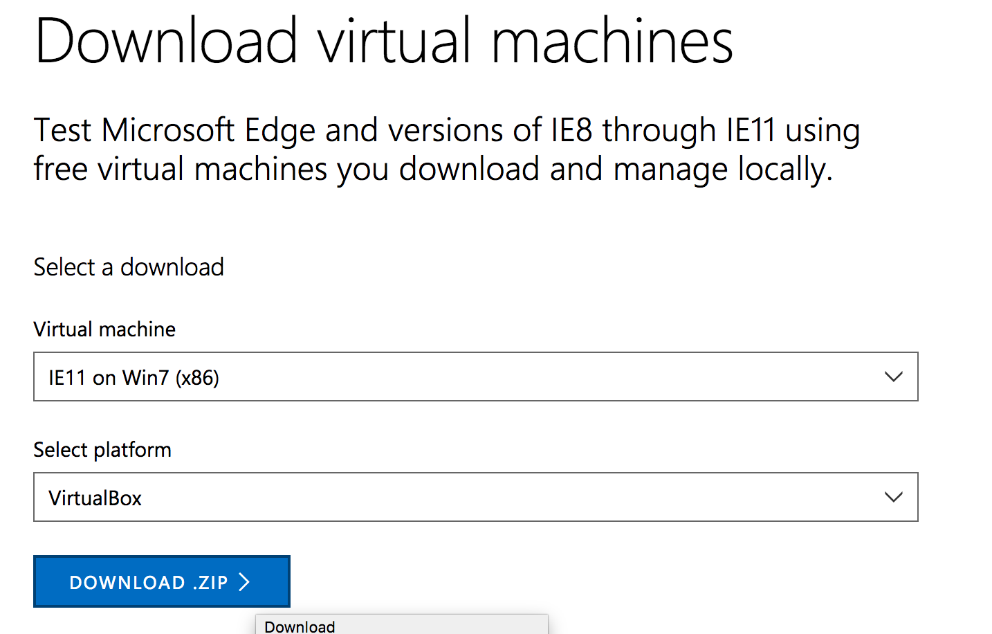 download virtual machine in modern.ie