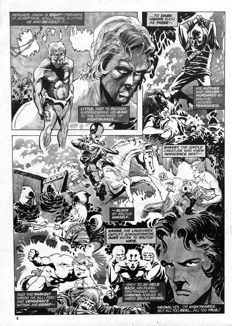 Planet of the Apes v1 #13 curtis magazine page art by Mike Ploog