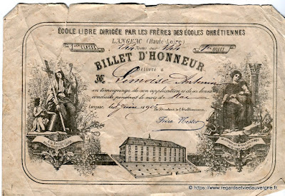 Photo d'un Billet d'Honneur de Langeac.