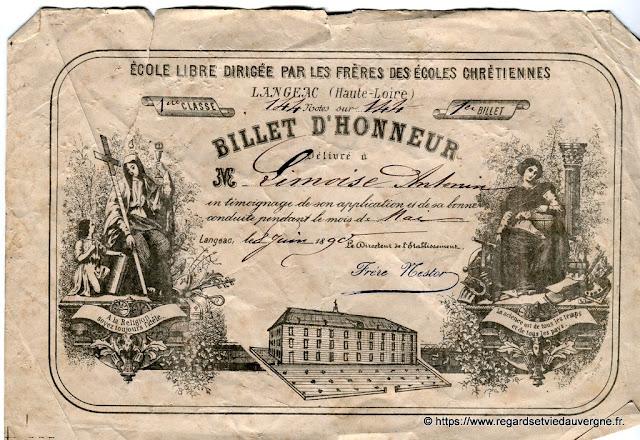Photo d'un Billet d'Honneur de Langeac.