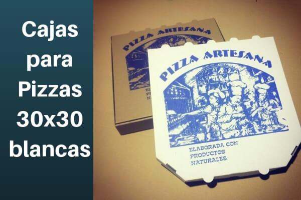 cajas personalizadas para pizzas cantos cortados 30x30 blancas