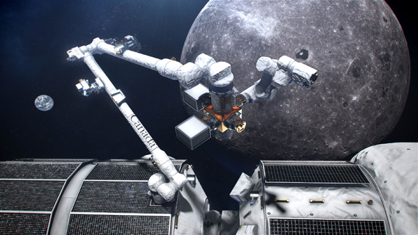 An artist's concept of Canadarm3 attached to NASA's Gateway outpost as it orbits the Moon.