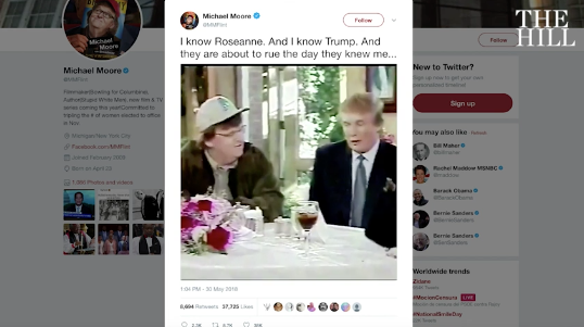 Michael Moore teases 'secret project' with old clip of Trump, Roseanne