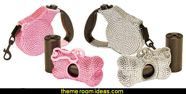 Bone Shaped Pet Waste Bag Dispenser Holder  Crystal Case Rhinestone Retractable Dog Pet Leash