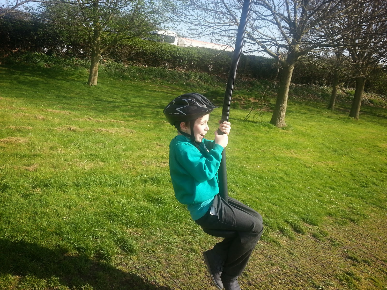 Boy on a zip wire