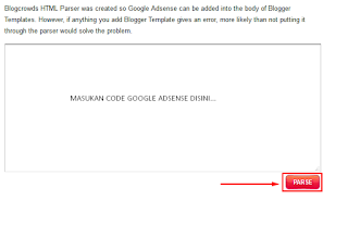 Pasang Code Adsense di Template Blog Error, Parse Dulu Gan