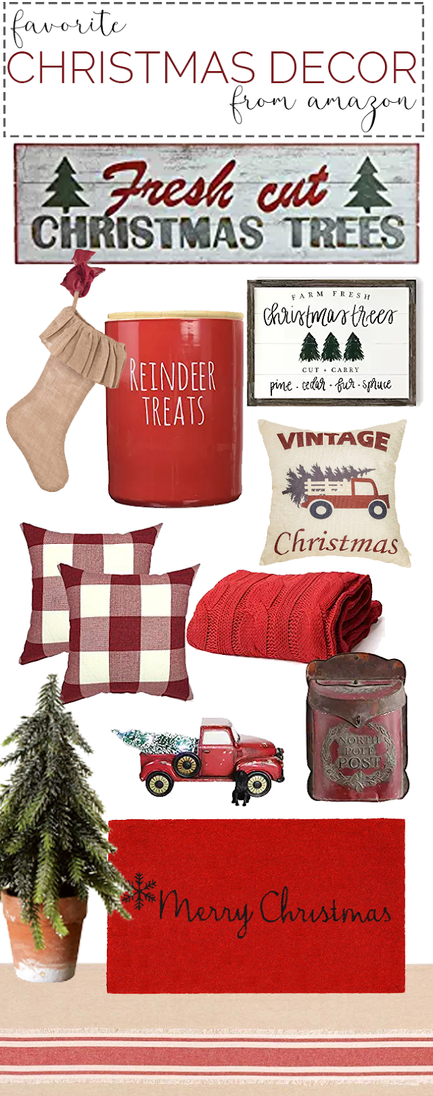 Christmas decor from Amazon. Favorite Christmas decor. Christmas decorating ideas. Red Christmas decor. Farmhouse style Christmas decor and decorating ideas.