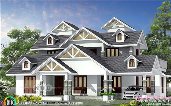 2475 sq-ft English model sloping roof home plan