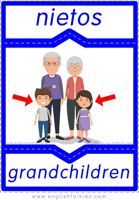 Grandchildren English-Spanish flashcards for the family members topic