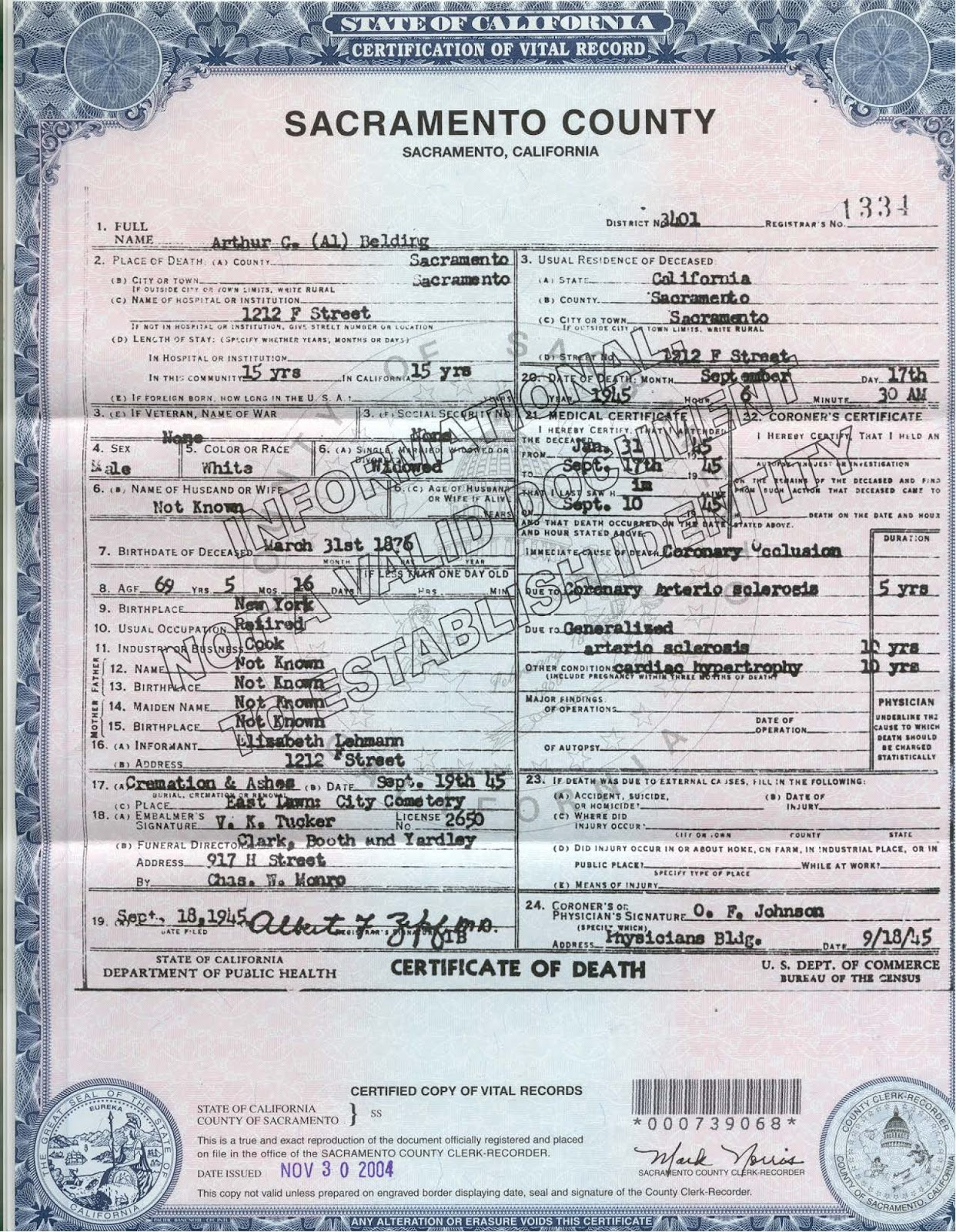 Kevin j olvaneys family history adventure his ww 1 draft registration death certificate and his obituary from the sacramento bee 1betcityfo Choice Image