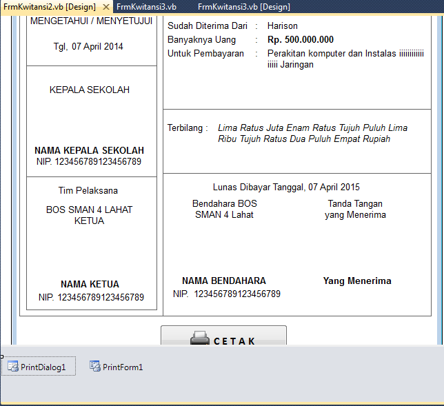 Tutorial VB.Net : Print Document dengan PrintForm dan PrintDialog