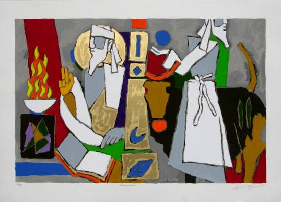 Theorama - Zoroastrianism by M F Husain - limited edition signed print at Indiaart Gallery, Pune (www.indiaart.com)