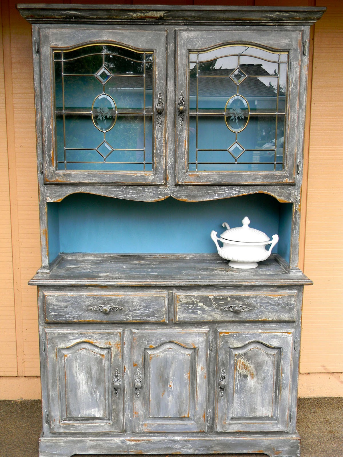 Emily S Up Cycled Furniture Tall Blue Grey Distressed Dresser: Emily's Up-cycled Furniture: Farmhouse Hutch