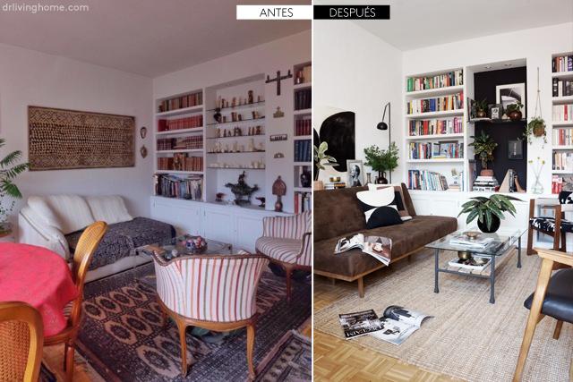 Antes y después de la decoración de mi salón