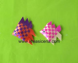 Kreasi ikan dari pita plastik atau pita kado