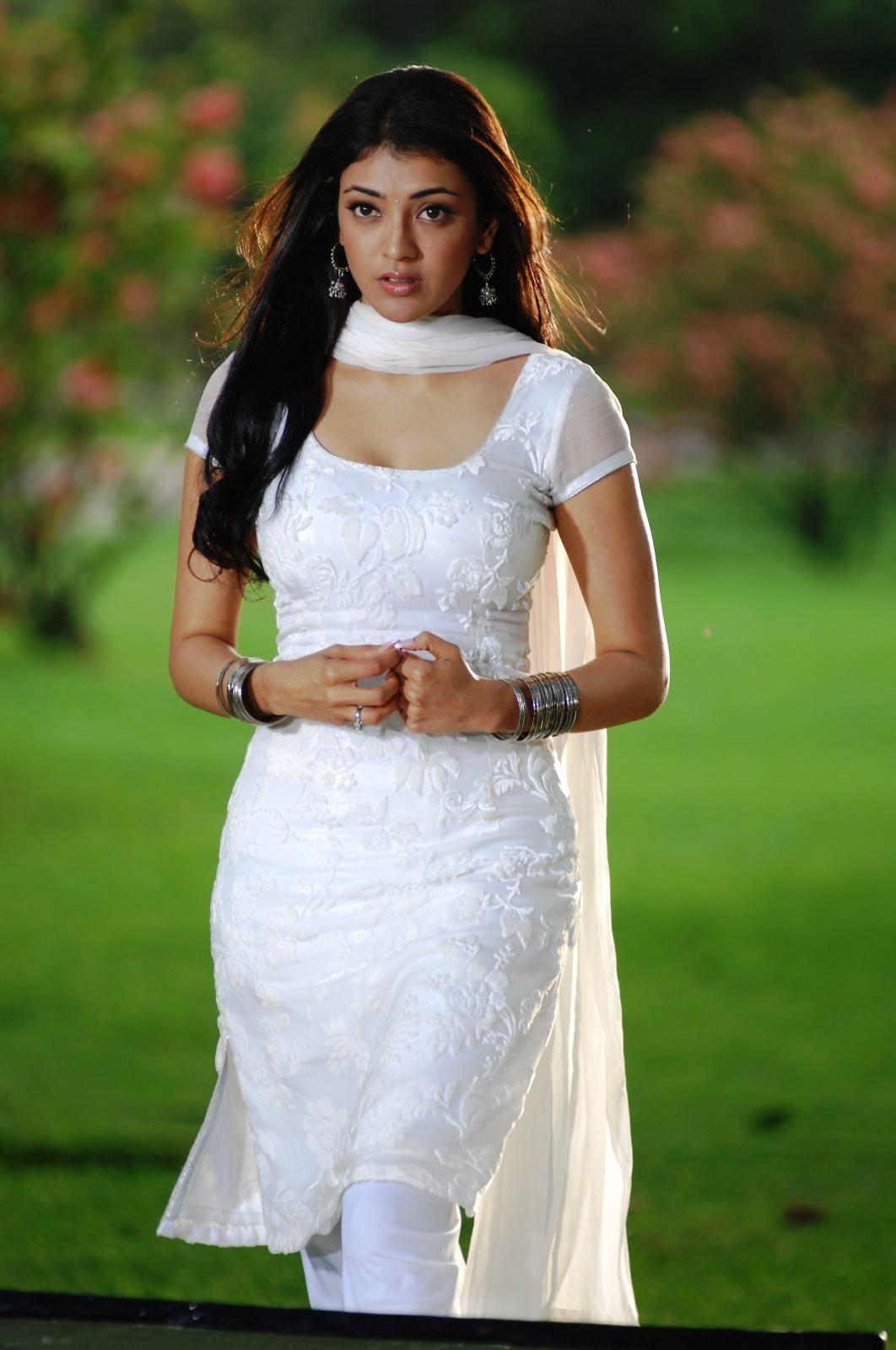 kajal in white chudidar dress