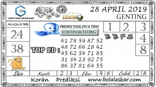 Prediksi Togel GENTING DRAWING LASKAR4D 28 APRIL 2019