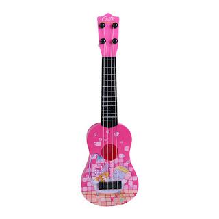 Children's Guitar 4 Strings Musical Develop Simulation Toys with Picks Pink