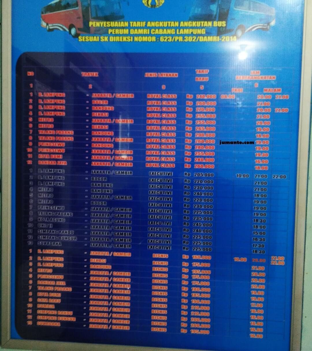 tarif bus damri lampung