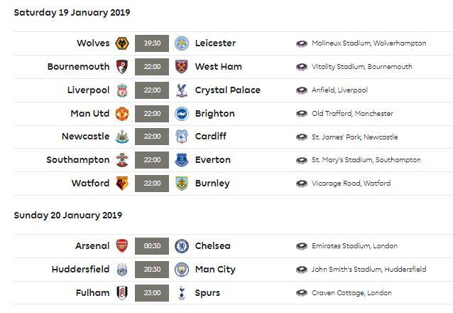 Jadwal Liga Inggris Pekan 23 Sabtu-Minggu 19-20 Januari 2019
