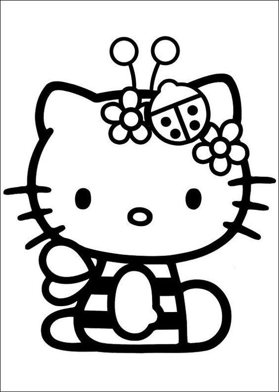 Tranh tô màu mèo hello kitty làm con ong