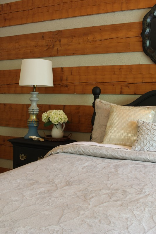 Log Cabin Bedroom with Highline Bedding Co Adelais Comforter
