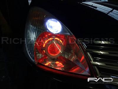 custom mobil dengan projektor angel eyes HID + Devil eyes
