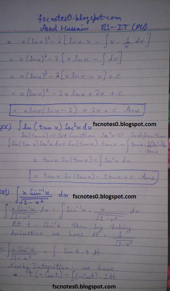 FSc ICS Notes Math Part 2 Chapter 3 Integration Exercise 3.4 Question 1 Asad Hussain 11