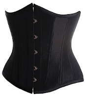 Womens black steampunk underbust corset bodice