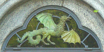 A cockatrice overdoor at Belvedere Castle in New York's Central Park.